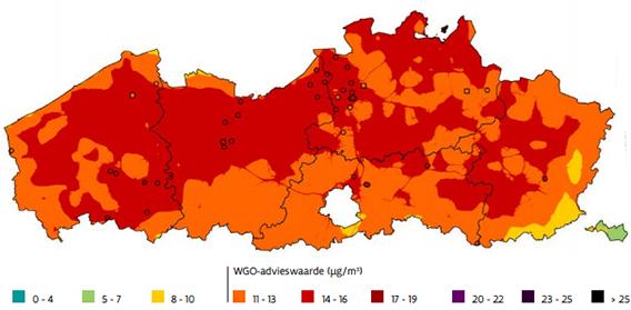 Fijnstof kaart België